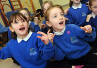 Children taking part in the Music and the Deaf project